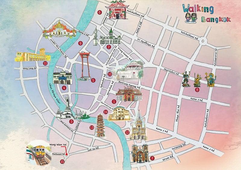 Vijftien wandelroutes in Bangkok